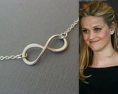 Silver Infinity Necklace, Celebrity Inspired Choker, Reese Witherspoon, Bridal Necklace, Anniversary Gift, Bridesmaids