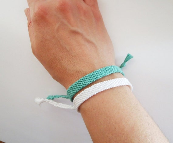 Knotted Bracelet (One) - Friendship Bracelet - Solid Colour - Mint Green - White - bff best friends