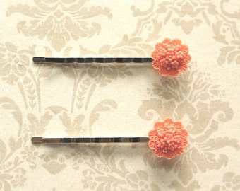 Coral Flowers-  2 Romantic Bobby Pins