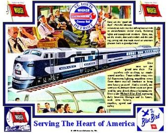 RAILROAD TIN SIGN  // Wabash Railroad // Train Art