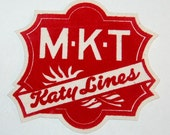 "Vintage Railroad Patch MKT Katy Lines Red White Felt 8""x8"" Work Train Huge"