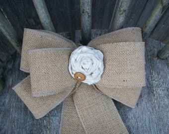 Rustic Aisle Decor, Burlap Pew Bow, Country Wedding Decor, Burlap and Muslin Rose, Burlap Wedding, Cottage Chic