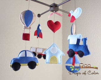 Baby Crib Mobile - Baby Mobile - Transportation Mobile - Car, Hot Air Balloon, Airplane, Train, Boat, Rocket Ship (You can pick your colors)