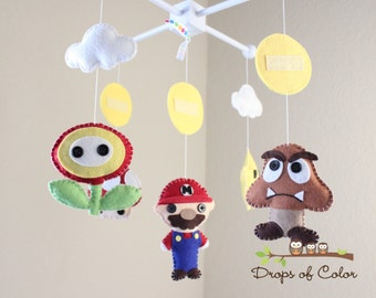 """Baby Crib Mobile - Baby Mobile - Mario Brothers Mobile """"Super Mario Bros Mobile"""" (You can pick your characters)"""