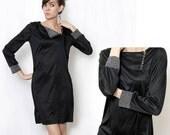 Vintage 80s Black Mod Style Bag Dress