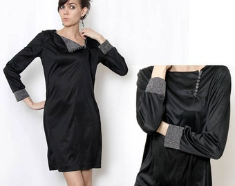 Vintage 80s Black Mod Style Bag Dress