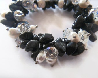 Onyx and Pearl Bracelet - Crystal Bracelet -Jewelry