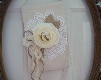 Canvas cross body bag-hipster-doily purse-wedding-vintage-Bride-Bridesmaid-cream and white-shabby chic purse-romantic.