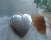 Large Heart Locket Silver Plated Brass Textured Design