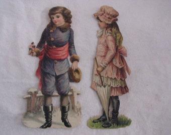 Authentic Victorian Valentine Scrap Children Figure chromolithograph