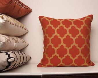 Copper Pillow, Orange Pillow, Burnt Orange Pillow, Fall Pillow, Moroccan Pillow, Throw Pillow, Gold, Spring Decor, Trellis, Quatrefoil