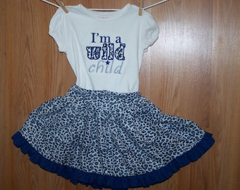 Wild Child Tee Shirt with Matching Skirt  Size 5