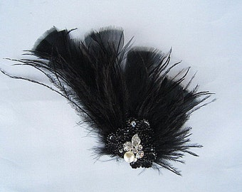 Bernice - Black Feather Spray Fascinator Hair Clip