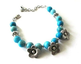 Blue stone bracelet jewelry silver flower charm beaded blue agate bracelet semi precious stone beads