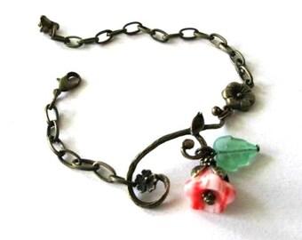 Branch bracelet jewelry orange flower bracelet, green czech leaf, vintage style antique bronze brass branch bracelet
