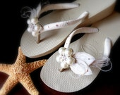 Ivory wedges HAVAIANAS flip flops -Sand Light golden sole -Ivory Decorated  Bridal peacock heel Flip flops. MUST HAVE Havaianas Collection