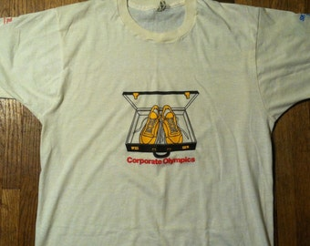 """Vintage 1980's """"corporate olympics"""" t-shirt, soft and thin, M-L"""