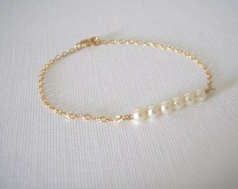 Gold Pearl Bracelet- 14k Gold Filled Dainty petite pearls gold jewelry- Tiny Pearl Bracelet- great gift