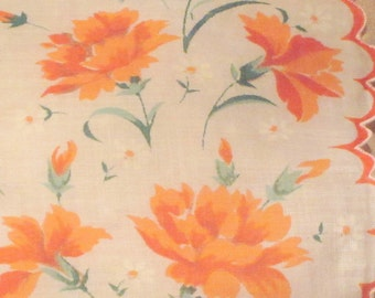 Vintage Carnation Pattern Handkerchief