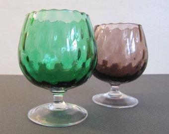 2 x Fluted Small Brandy Globes, Mid Century Barware