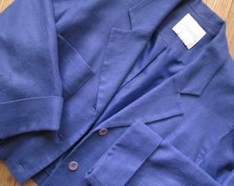 Linen Jacket, cropped oversized, spring summer lightweight, bomber jacket, periwinkle blue, vintage 80s 90s, women medium