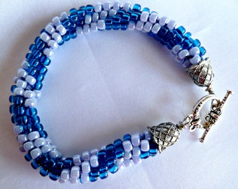 Blue beaded Kumihimo bracelet, blue swirl, statement bracelet, gifts for her, dangle bracelet