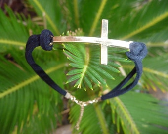 Leather Bracelet.Charm Black Leather Bracelet