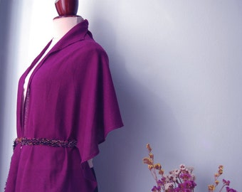 Informal cape, sophisticated, scarf or shawl with belt. Red violet  100% natural, rustic silk.