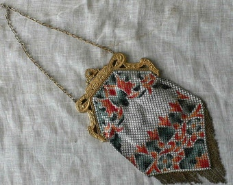 vintage evening bag, Mandalian Mfg. Co. enameled, Flapper,art deco, great gatsby, from Diz Has Neat Stuff