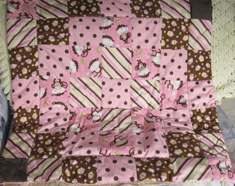 Adorable Quilted Pink and Brown Monkey Cupcake Baby Quilt