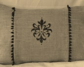 "Burlap Hand Painted Fleur Black  Beading  Lumbar Pillow Cover 18"" X 12"" or 18 X 18 Pilllow Cover Fully Lined"