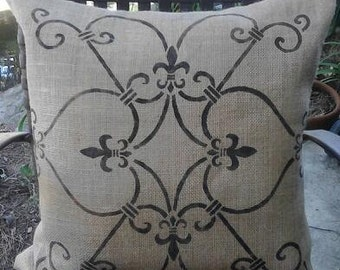 Burlap Pillow Cover- Euro Sham with Hand Painted Fleur de Lis Ironwork Pattern-Lined for Even Coverage-22 or 24 inch