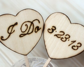 Wedding CAKE Topper We Do Mr and Mrs Personalized Wood Burned Hearts Rustic Woodland Wedding Centerpiece