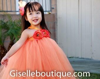 Flower girl dress. Orange TuTu Dress.baby tutu dress, toddler tutu dress, wedding, birthday, Newborn, 2t,3t,4t,5t