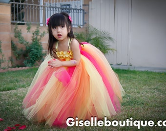 Flower girl dress. Orange-Banana-Strawberry TuTu Dress. baby tutu dress, toddler tutu dress, wedding, birthday, Newborn,