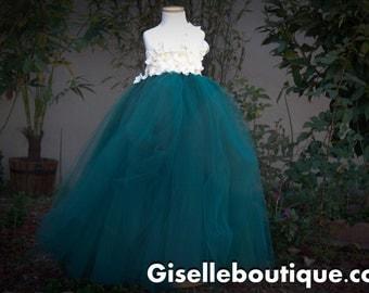 Flower girl dress. Emerald with Ivory Hydrangeas. Emerald tutu dress.Ivory tutu dress.baby tutu dress, toddler tutu dress, wedding, birthday