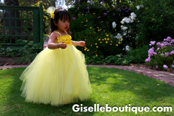 flower girl dress Sunny Delight TuTu Dress.Yellow flower girls dress.Clothing.Wedding .baby tutu dress,toddler tutu dress,wedding, birthday,