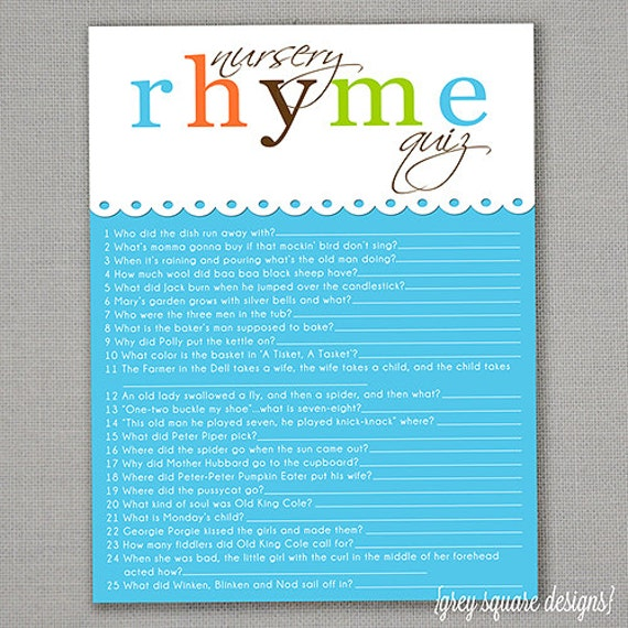 nursery rhyme quiz baby shower game blue