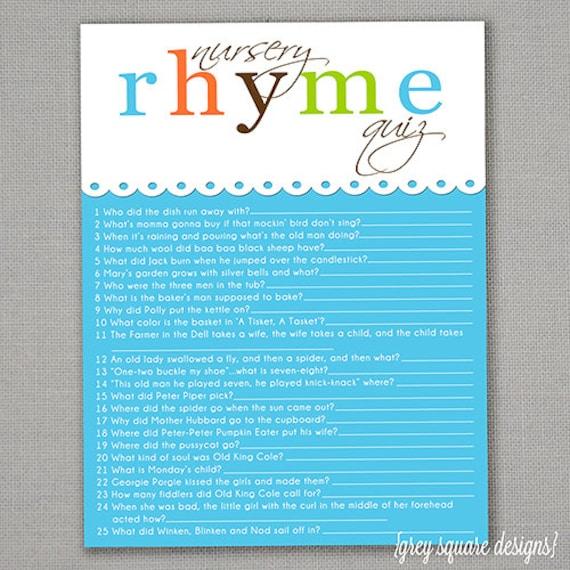 nursery rhyme quiz baby shower game blue
