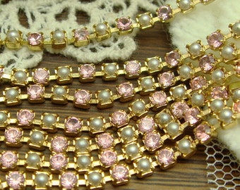 1.4 yard ( 51 inch) PP18 Swarovski Crystal  Cup-Chain in Golden Brass Setting,Lt  Rose With Pearl