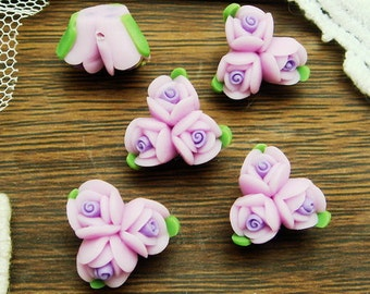 4 pcs Beautiful Fimo Rose Flower 13 mm,Purple  (WP10-14)