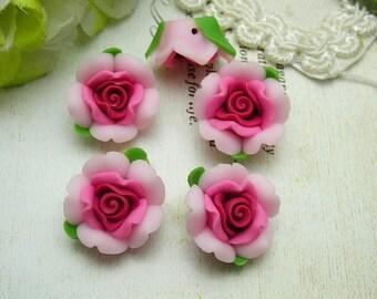 6 pcs Beautiful Fimo Rose Flower 12 mm, Pink w/ Rose  Centre