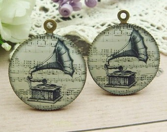 4 pcs (25 mm) Antique Bronze Plated Glossy Resin Pendant-( CN25-05)