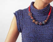 Blue and red necklace - statement necklace - artisan lampwork - artisan bronze clasp - OOAK - chunky necklace