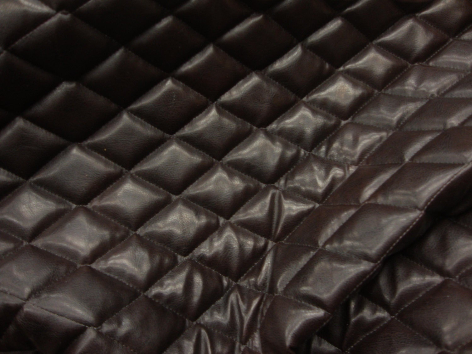 Brown Faux leather Quilted Vinyl fabric with 3/8 Foam : quilted vinyl - Adamdwight.com