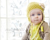 Little Girl Crochet Earflap Hat with Flower Toddler Baby Child Adult