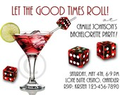 BACHELORETTE or BUNCO Printable INVITATION - also Birthday, Girl's Night Out, Casino Night Invite - Custom Las Vegas, Poker, Gaming diy