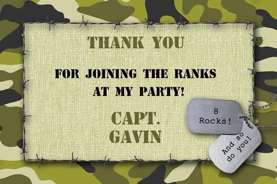 CAMO THANKYOU Card Printable Customized Military Boys – Army Birthday Cards