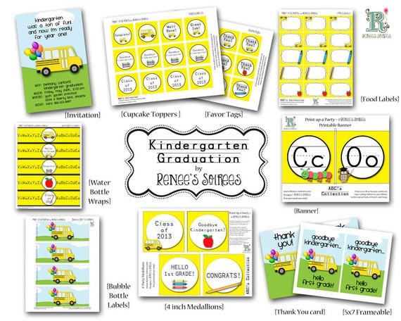 Classroom Decor Items : Items similar to kindergarten graduation printable