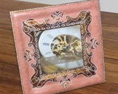 Pink wood handpainted photoframe for 4 x 4 photo